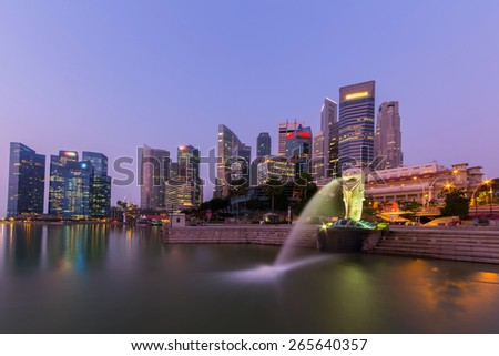 Singapore - March,18 2015: Landmark of Singapore city Merlion Statue at Marina Bay  - stock photo