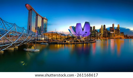 SINGAPORE  - MARCH 10: Marina Bay Sands, an integrated resort fronting Marina Bay, March 10, 2015, Singapore. The world's most expensive standalone casino property. - stock photo