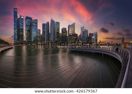 Singapore - 23 March 2014, Sunset behind Raffles City, Raffles Place, skyline of Singapore - stock photo