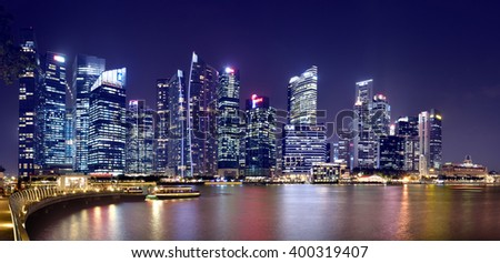 SINGAPORE - MARCH 24: Wonder Full light show at Marina Bay Sands, March 24, 2016, Singapore. Southeast Asia's largest light and water show. - stock photo