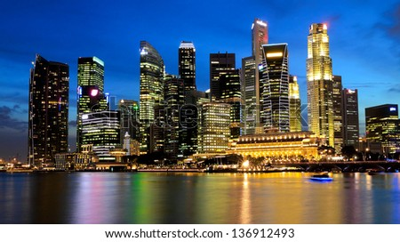 Singapore Marina Bay Business District at night - stock photo