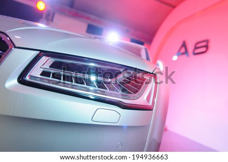 Singapore - May 16: Audi A8 luxury sedan on display at Audi Fashion Festival 2014 on May 16, 2014 in Singapore - stock photo
