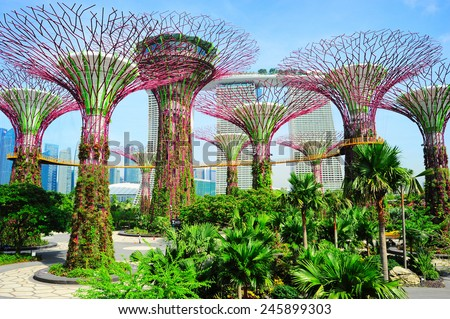SINGAPORE - MAY 09, 2013: Gardens by the Bay in Singapore. Gardens by the Bay was crowned World Building of the Year at the World Architecture Festival 2012  - stock photo