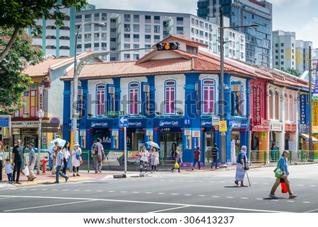 SINGAPORE - 21 May 2015 :Little India is, as the name promises, the centre for the large Indian community in Singapore.. - stock photo
