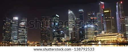 SINGAPORE - MAY 14:  Singapore's Central Business District comprises the core of Singapore's financial activities and thus includes many important financial buildings, on May 14, 2013 in Singapore. - stock photo