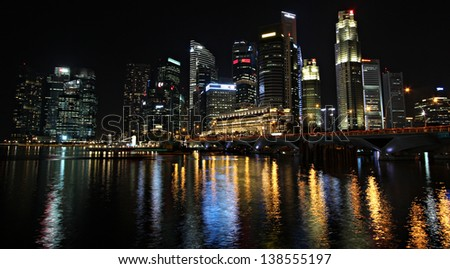 SINGAPORE - MAY 14:  Singapore's Central Business District comprises the core of the financial activities and thus includes many significant financial buildings, on May 14, 2013 in Singapore. - stock photo