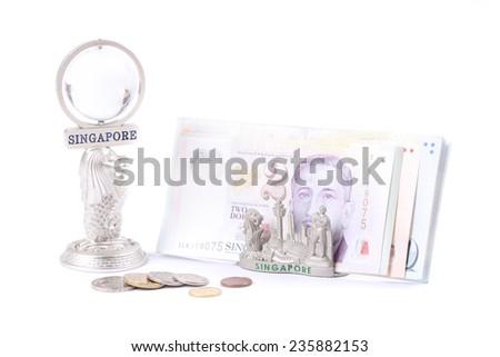Singapore money and souvenir - stock photo