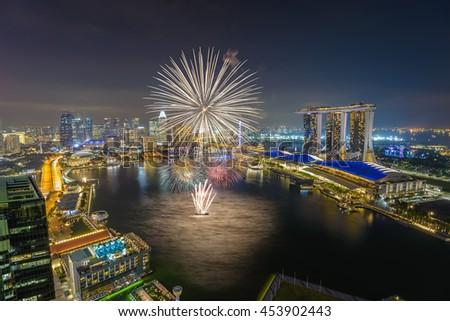 Singapore national day fireworks celebration - stock photo
