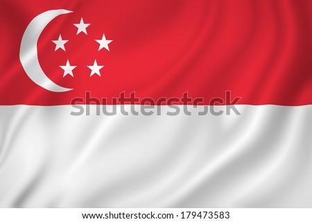 Singapore national flag background texture. - stock photo