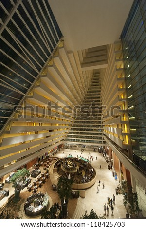 SINGAPORE - NOV 01 : luxurious lobby interior of Sands Hotel at Marina Bay on Nov 01, 2012 in Singapore. it is billed as the world's most expensive casino + hotel property at US$6.8 billion. - stock photo