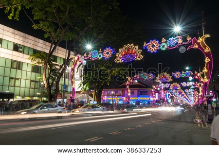 """SINGAPORE - NOV 10 : Neon Light Banners were hung in Little India to celebrate the Indian festival - Deepavali, popularly known as the """"festival of lights"""" on Nov 10, 2015 in Singapore. - stock photo"""