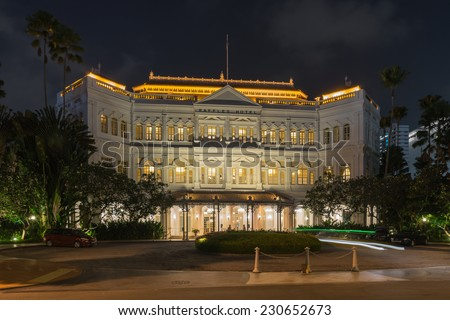 SINGAPORE - NOV 1 : Raffles Hotel on November 1st, 2014 in Singapore. Raffles Hotel is a colonial-style hotel, It was established by two Armenian brothers from Persia  in 1887 - stock photo