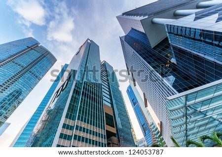SINGAPORE - NOVEMBER 1: View of skyscrapers in Marina Bay on November 1, 2012 in Singapore. Singapore is the world's fourth leading financial centre. - stock photo