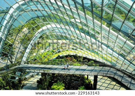 SINGAPORE - OCTOBER 25: Cloud Forest at Gardens by the Bay on October 25, 2014 in Singapore. Spanning 101 hectares of reclaimed land in central Singapore, adjacent to Marina Reservoir.  - stock photo