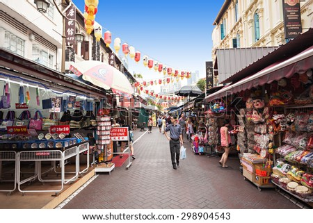 SINGAPORE - OCTOBER 16, 2014: Singapore Chinatown is an ethnic neighbourhood featuring distinctly Chinese cultural elements and a   concentrated ethnic Chinese population. - stock photo