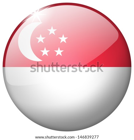 Singapore Round Glass Button - stock photo