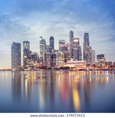 Singapore`s business district at night. - stock photo