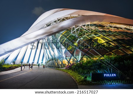 SINGAPORE-SEP 04: Cloud Forest & Flower Dome at Gardens by the Bay on SEP 04, 2014 in Singapore. Spanning 101 hectares, and five-minute walk from Bayfront MRT Station. - stock photo