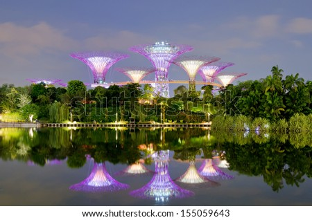 SINGAPORE - SEPT 08: Night view of Supertree Grove at Gardens by the Bay on Sept 08, 2013 in Singapore. Spanning 101 hectares of reclaimed land in central Singapore, adjacent to the Marina Reservoir.  - stock photo