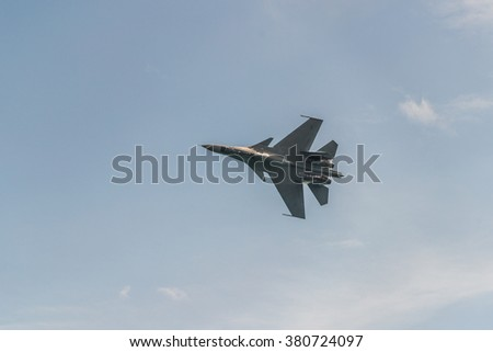 Singapore, Singapore - February 21, 2016: The Sukhoi Su-30MKM from the Royal Malaysian Air Force during the Aerobatic Flying Displays at Singapore Airshow - stock photo