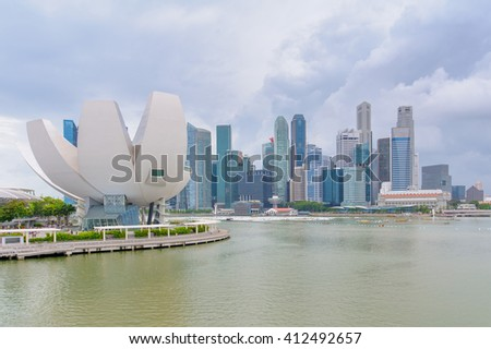 Singapore, Singapore - January 1: skyline of singapore at marina bay, located in the Central Area of Singapore surrounded by the perimeter of four other planning areas - stock photo