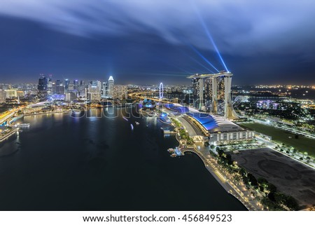 Singapore, Singapore - July 18, 2016: Marina Bay Sands, at night with city lights - stock photo