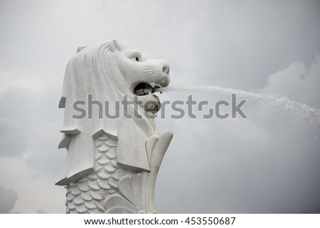 singapore, singapore - July 17, 2016: merlion is a imaginary creature with the head of a lion, seen as a symbol of Singapore - stock photo