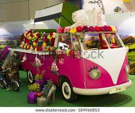 SINGAPORE, SINGAPORE - JUNE 1: Old Fashion VW Transporter Camper transformed in on June 1, 2013 in Singapore, Singapore.  - stock photo