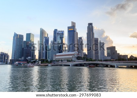 Singapore skyline at Marina bay - stock photo