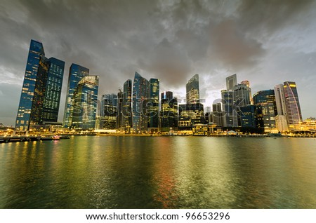 Singapore skyscrapers in downtown at evening time. - stock photo