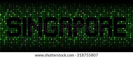 Singapore text on hex code illustration - stock photo