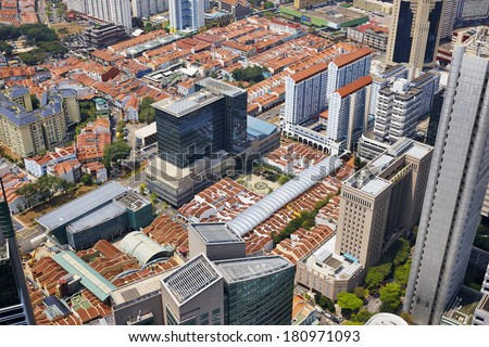 Singapore view from Altitude building - stock photo