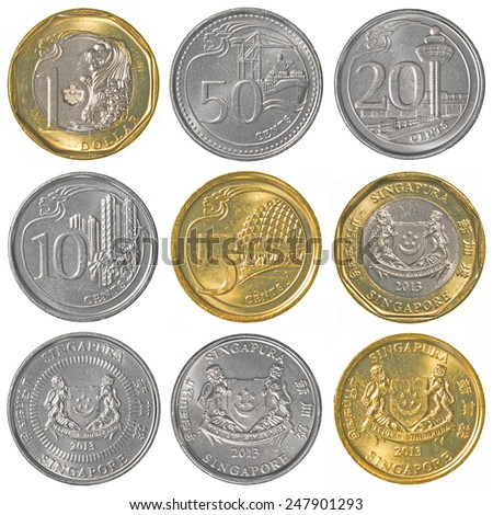 singaporean dollar coins collection set isolated on white background - stock photo