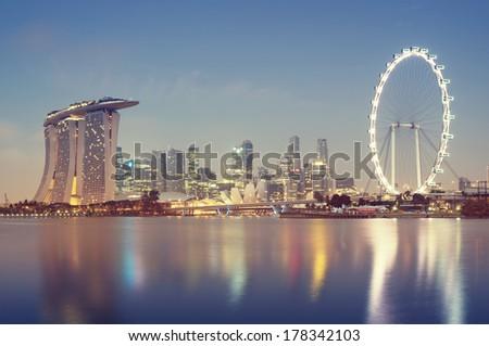 Singaporer Skyline at night. - stock photo