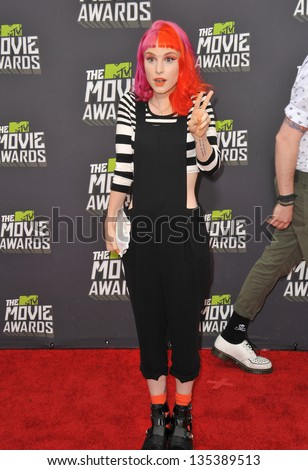Singer Hayley Williams of Paramore at the 2013 MTV Movie Awards at Sony Studios, Culver City. April 14, 2013  Los Angeles, CA Picture: Paul Smith - stock photo