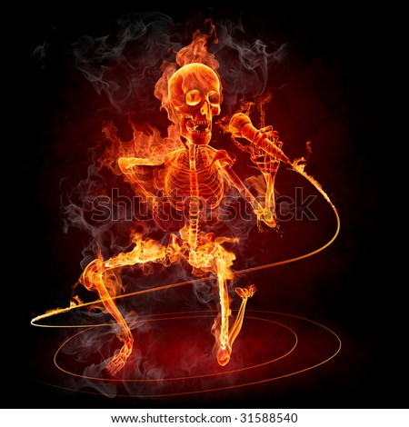 Singer Series of fiery illustrations - stock photo