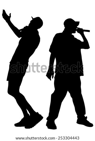 Singers men in rap style on white background - stock photo