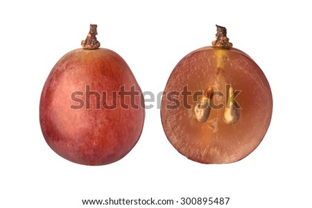 Single and halved red globe grape isolated on white background  - stock photo