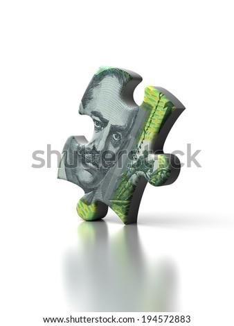 Single Australian Dollar Puzzle - stock photo
