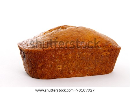 Single Banana Bread Loaf on White Background - stock photo