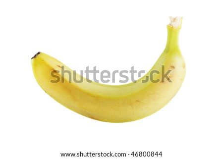 single banana isolated on white - stock photo