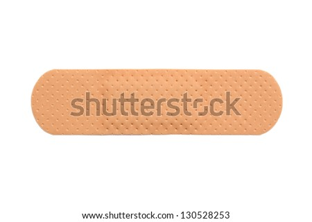 Single band aid, closeup shot, isolated on white background - stock photo