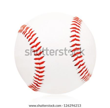 Single baseball ball, isolated on white background - stock photo