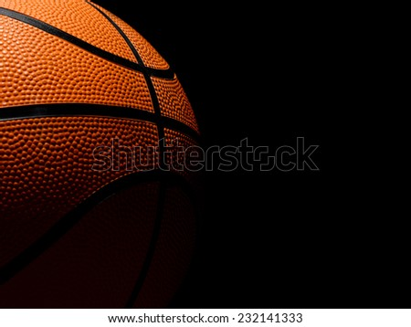Single Basketball on a black background - stock photo