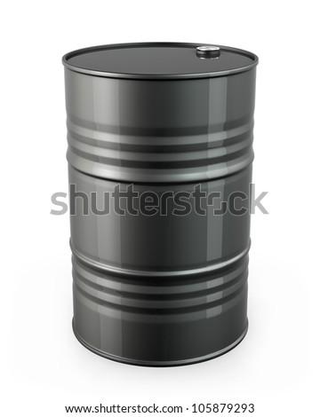 Single black barrel, isolated on white background - stock photo