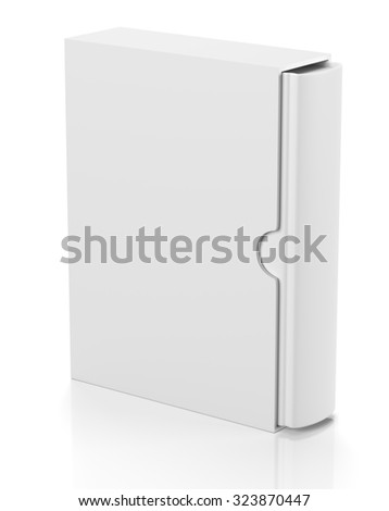 Single blank book in cardboard box cover isolated on white background - stock photo