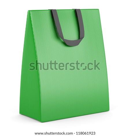 single blank green shopping bag isolated on white background - stock photo