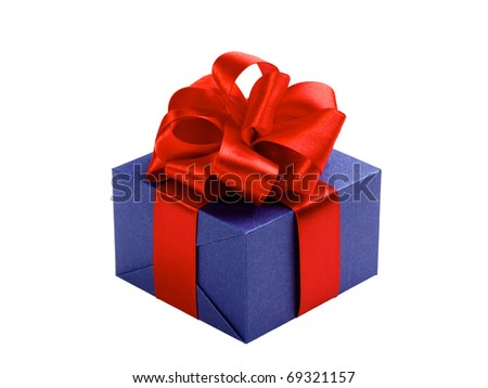 single blue gift box with red ribbon and bow isolated on white - stock photo