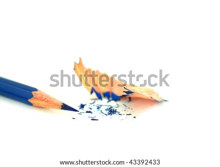 Single blue pencil over white background with pencil sharpening shavings - stock photo