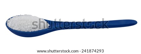 Single blue porcelain spoon with sugar isolated on white. Clipping path included. - stock photo